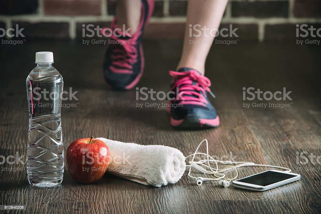 fitness running sports equipment, water phone music towel apple stock photo