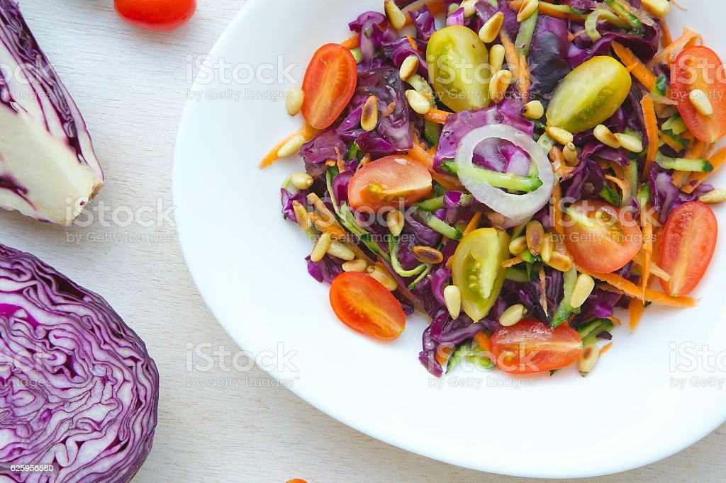 Fitness salad with purple cabbage stock photo