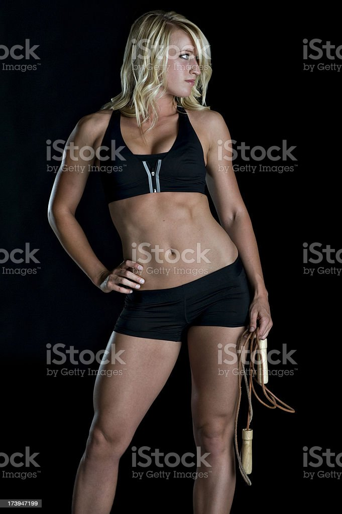Fitness - Sexy Fit Woman In Workout Cloths (XL) royalty-free stock photo