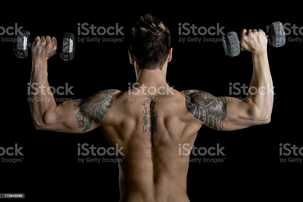 Fitness - Sexy Muscular Man Lifting Weights (XL) royalty-free stock photo