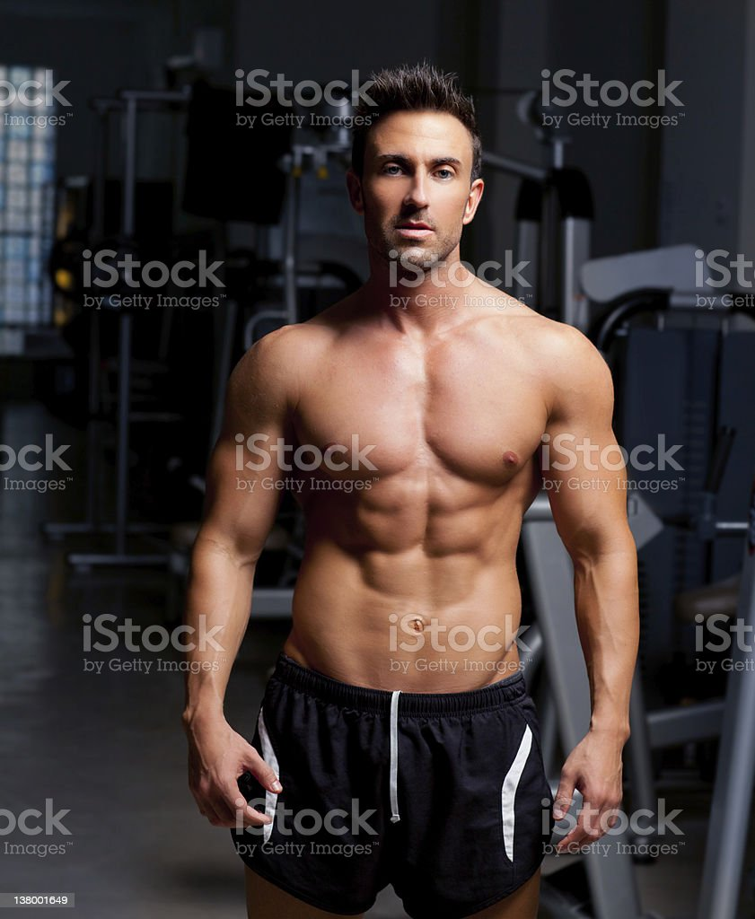 fitness shaped muscle man posing on gym royalty-free stock photo