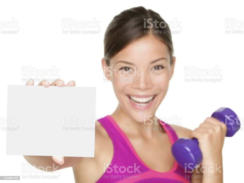 fitness sign woman royalty-free stock photo