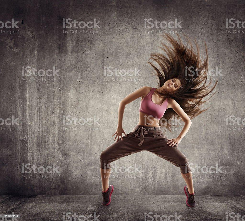 Fitness Sport Dance, Woman Dancer Flying Hair Dancing over Concrete...