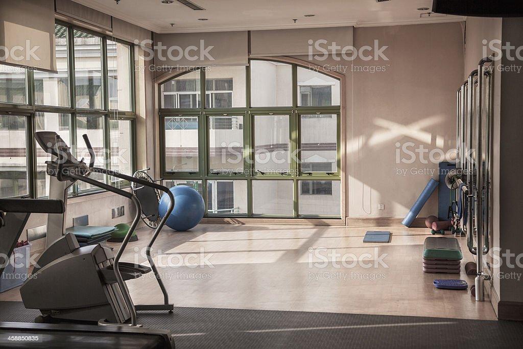 Fitness studio with dance rail. stock photo