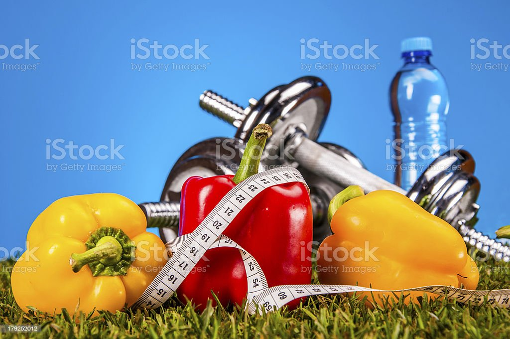 Fitness stuff with vivid colors royalty-free stock photo