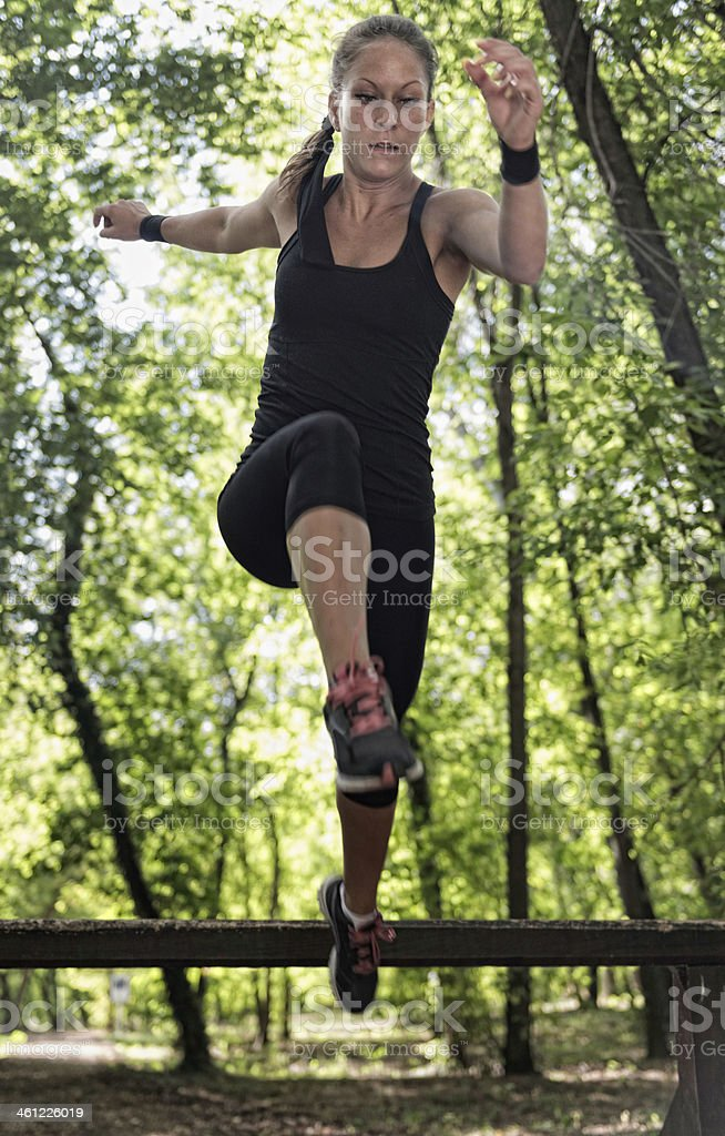 Fitness trail exercise stock photo