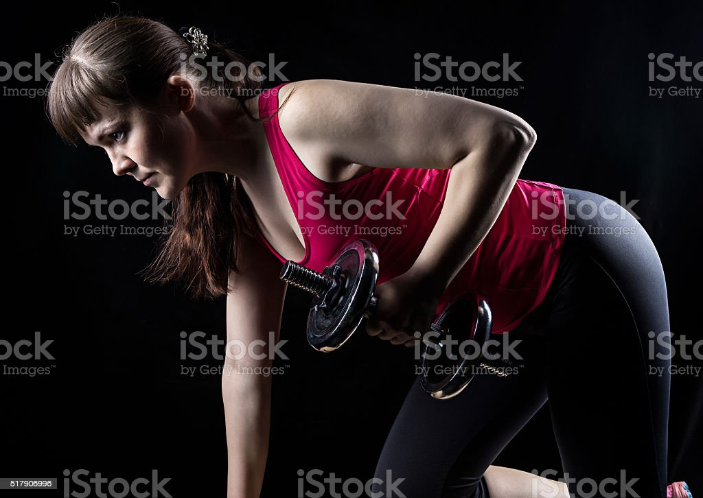 Fitness trainer, brunette woman stock photo