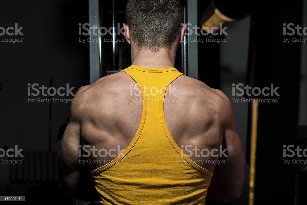 fitness trainer doing exercise for back royalty-free stock photo