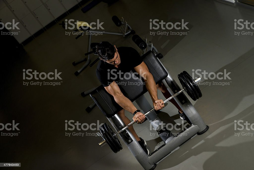 Fitness Trainer Doing Heavy Barbell Exercise royalty-free stock photo