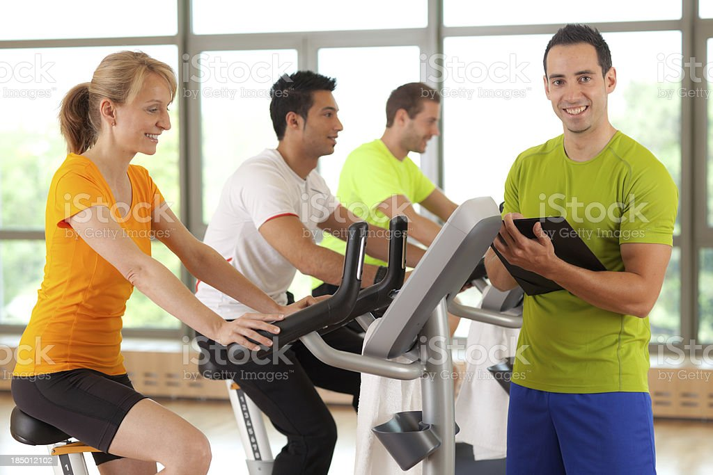 fitness trainer  with small endurance group royalty-free stock photo