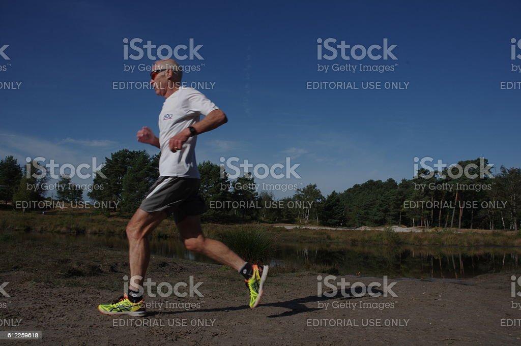 Fitness training in the heathland stock photo