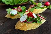 Fitness Vegetarian sandwiches with radish