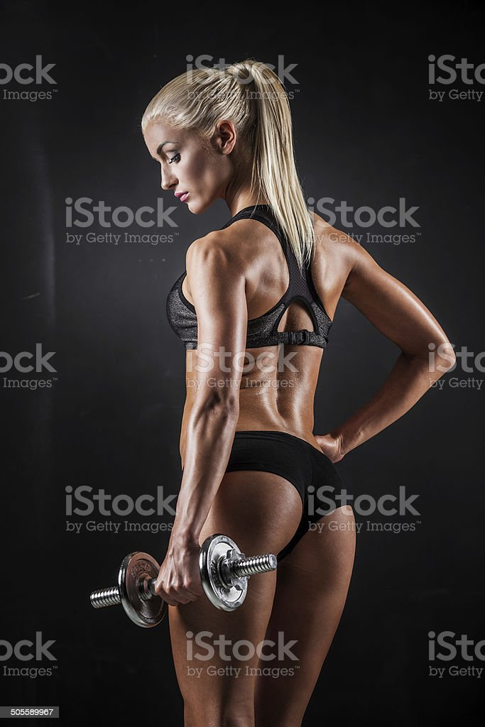 Fitness with dumbbells stock photo