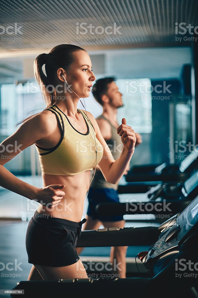 Fitness with music stock photo
