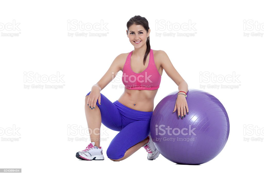 Fitness with Swiss ball stock photo