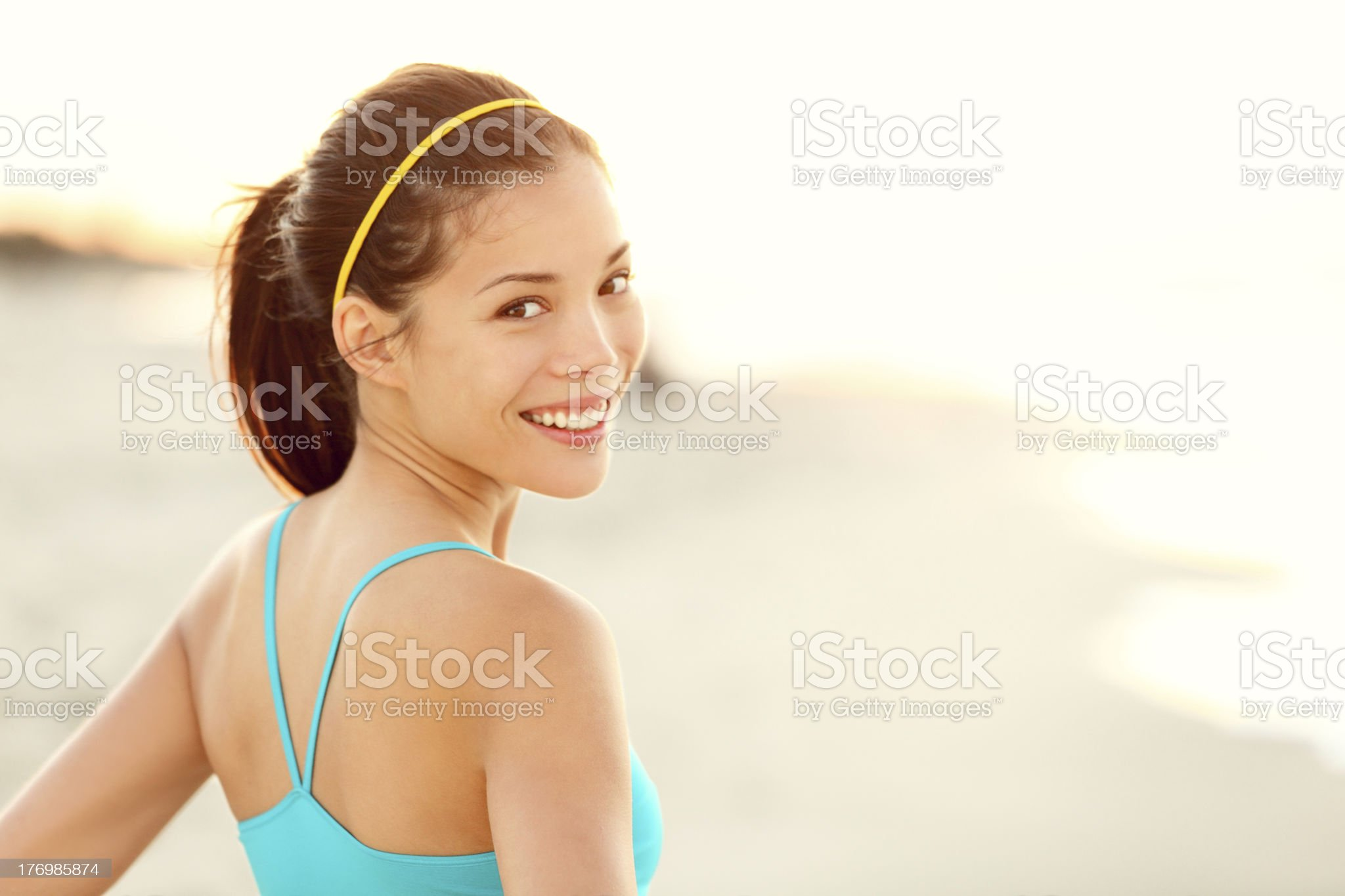 Fitness woman beach portrait royalty-free stock photo