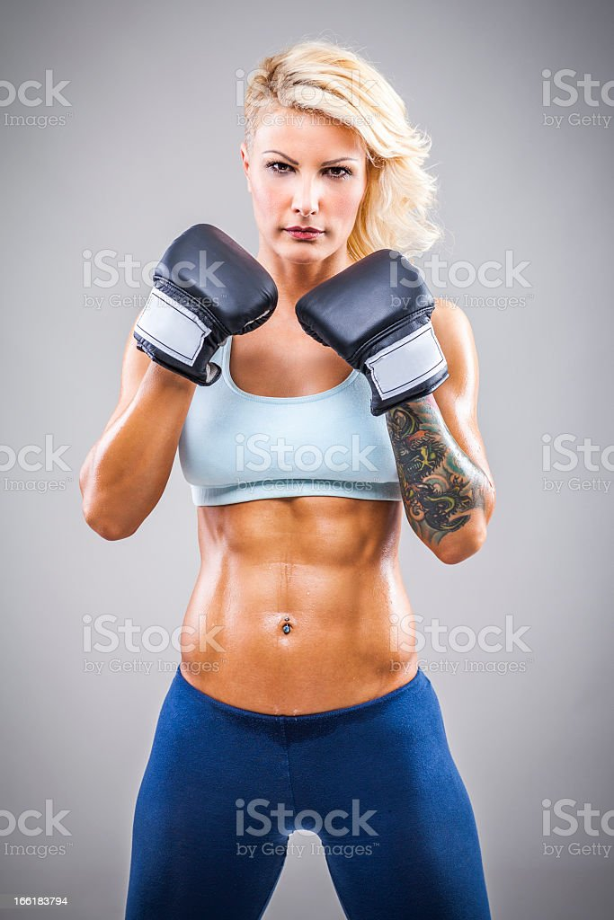 Fitness woman boxing royalty-free stock photo