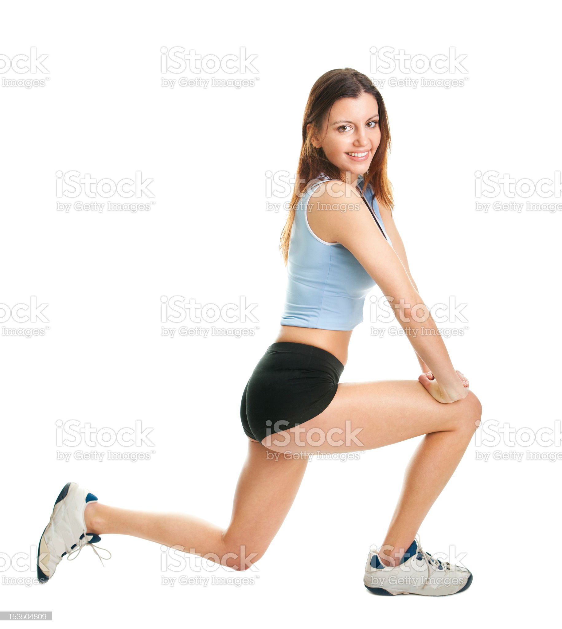 Fitness woman doing lunge exercise royalty-free stock photo