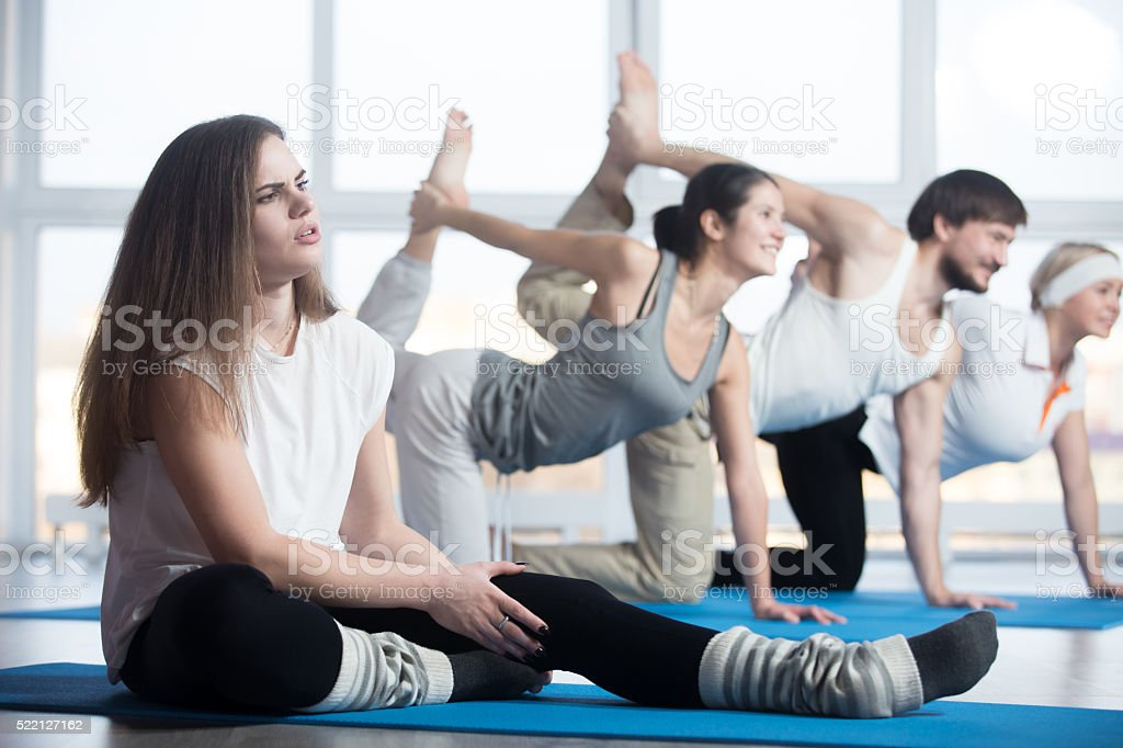 Fitness woman injured stock photo