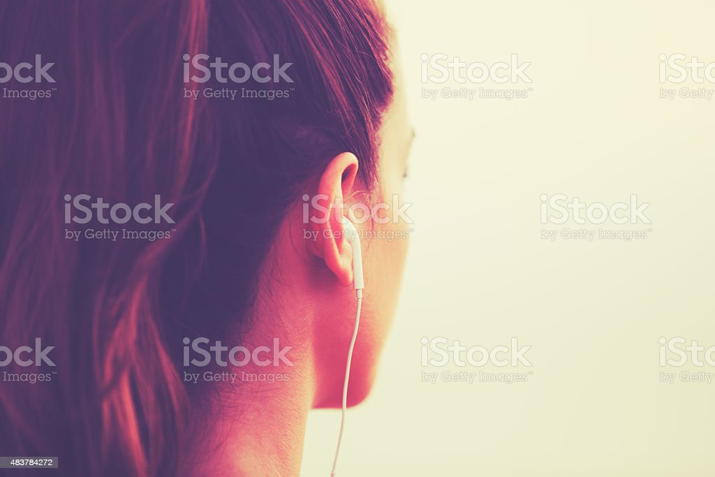 Fitness Woman Listening to Music stock photo