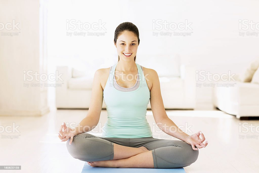 Fitness Woman Sitting In Yoga Posture royalty-free stock photo