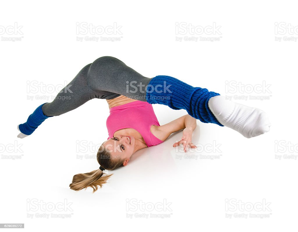 Fitness woman splits stock photo
