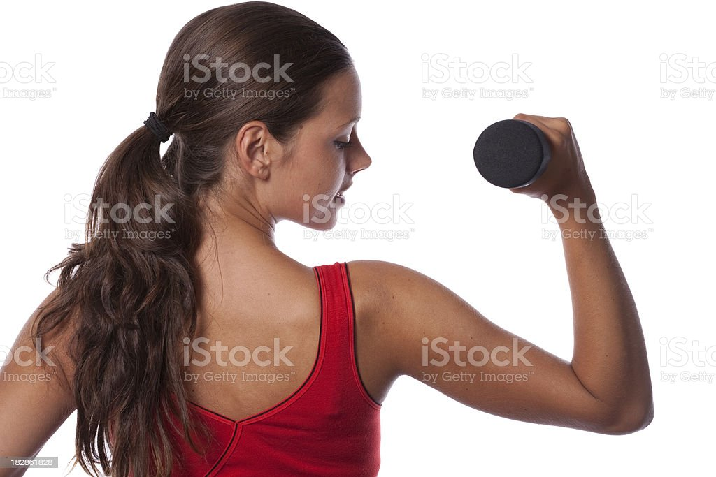 Fitness woman with a dumbbell royalty-free stock photo