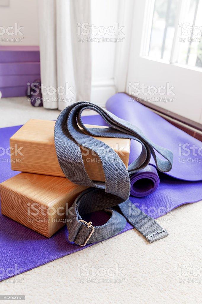 Fitness yoga pilates equipment props on carpet stock photo