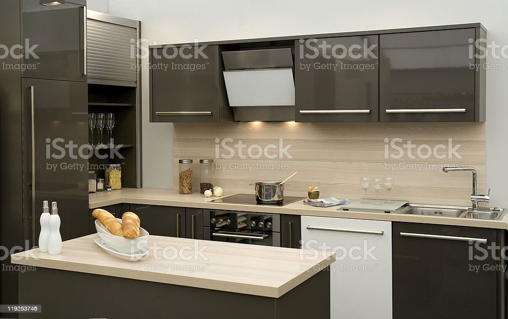 Fitted kitchen stock photo