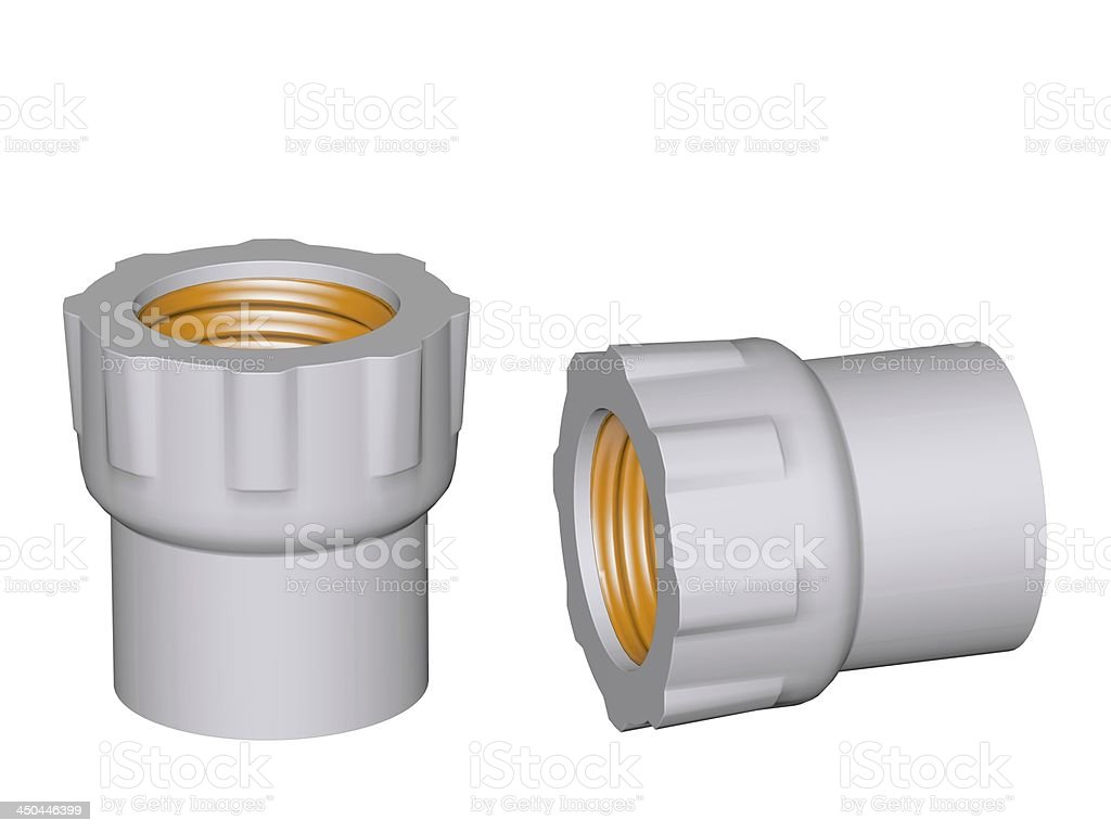 Fitting - PVC connection coupler inside screw thread powered royalty-free stock photo