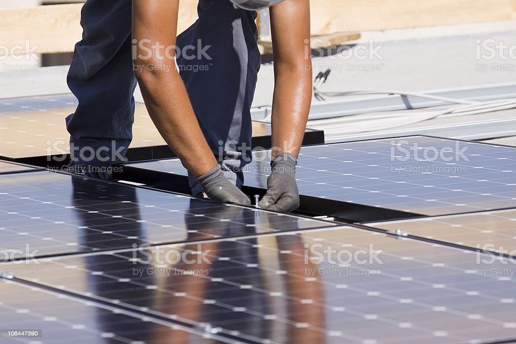 fitting the panels stock photo