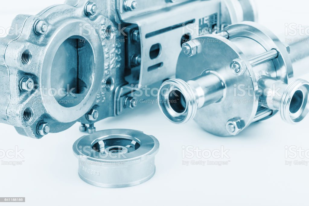 Fittings and ball valve with selective focus on thread fittings. stock photo