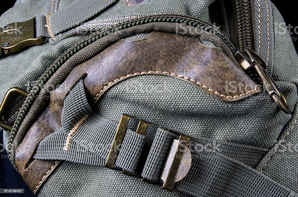 fittings and zips hand bag stock photo