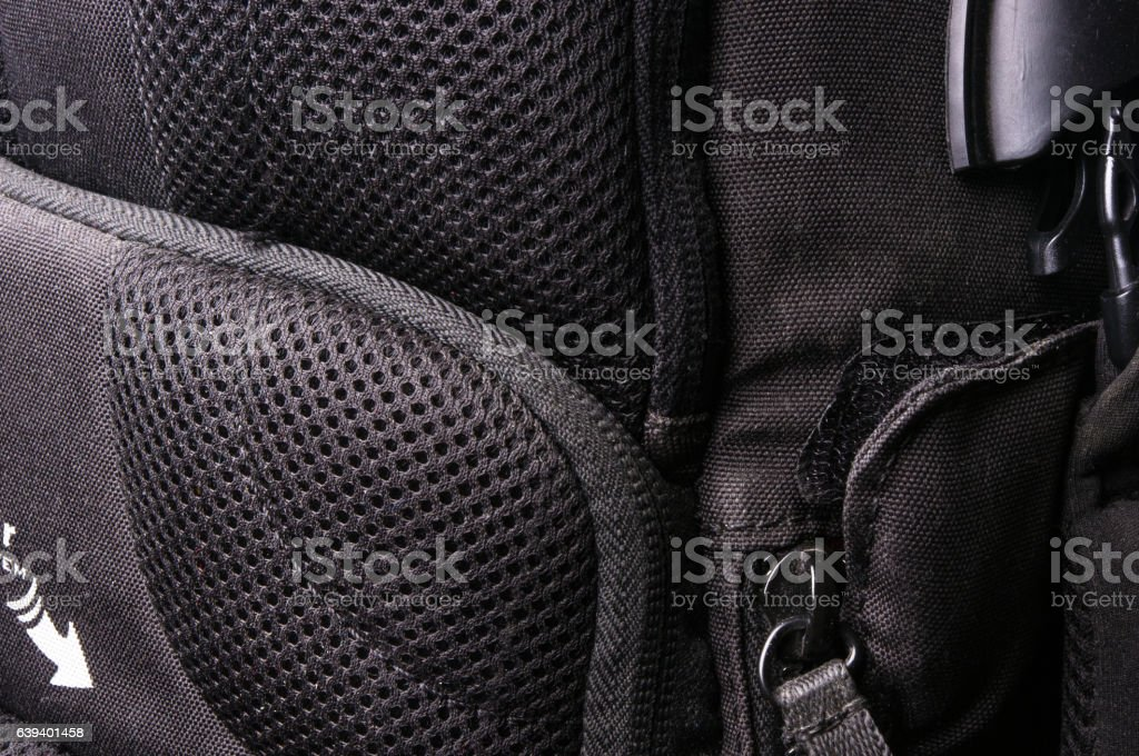 fittings and zips in the backpack stock photo