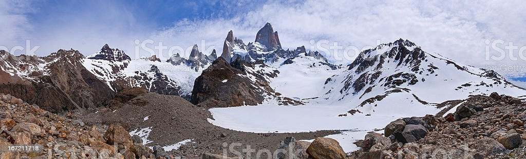 Fitz Roy from to the laguna PANORAMA royalty-free stock photo