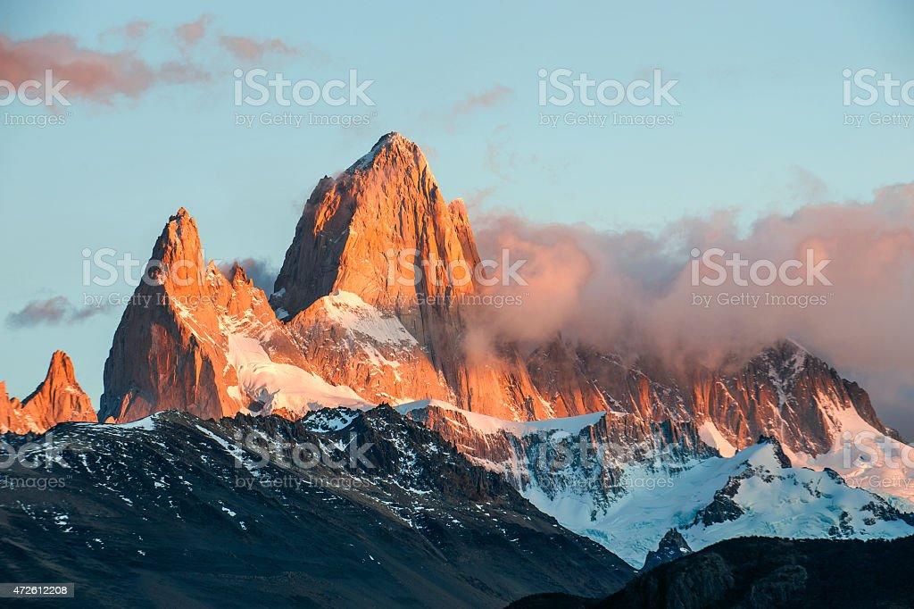 Fitz Roy Mountain, El Chalten, Patagonia, Glaciers National Park Argentina. stock photo