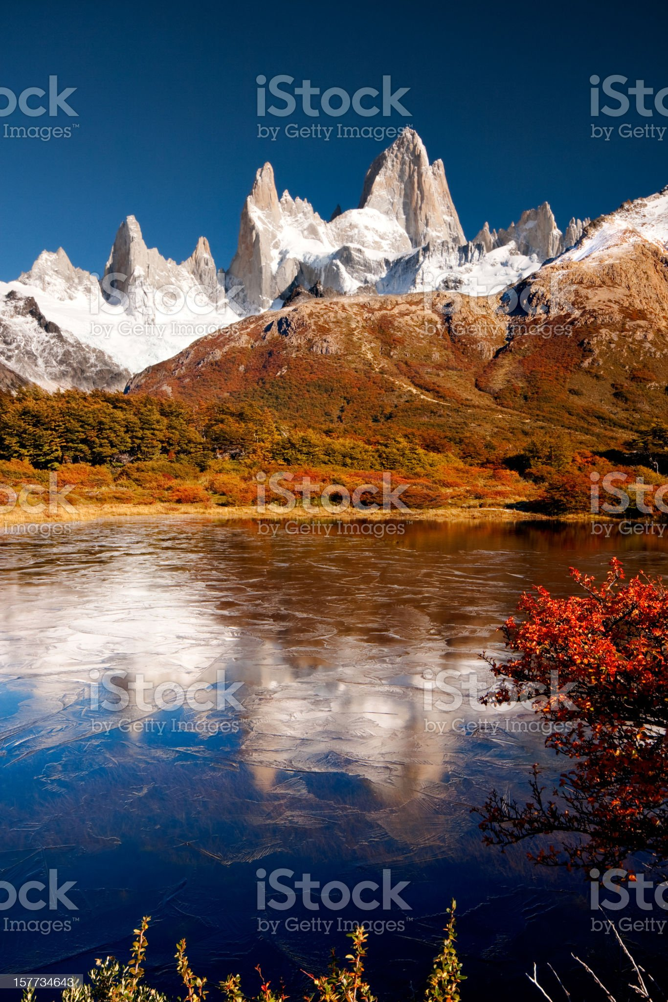 Fitz Roy Reflected in Icy Pond royalty-free stock photo