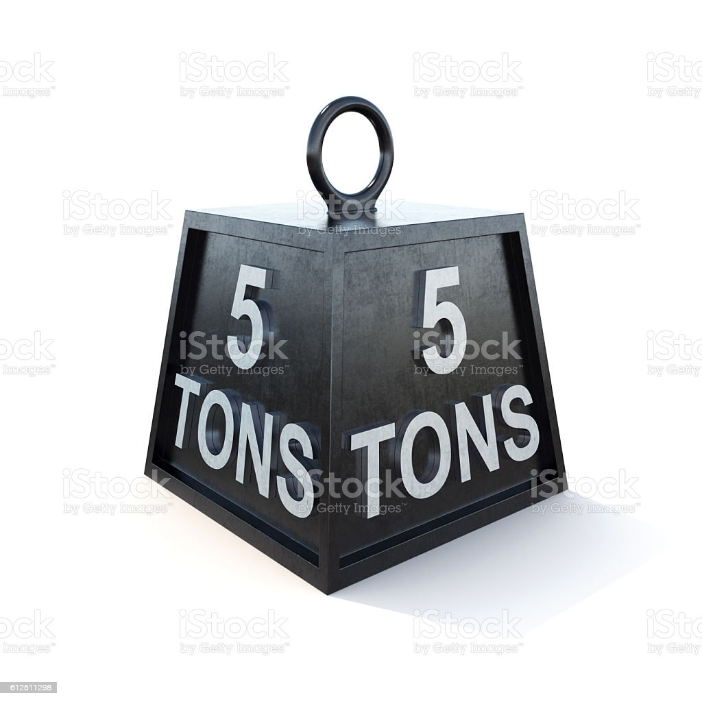 Five 5 tons weight isolated on white background. 3d rendering stock photo