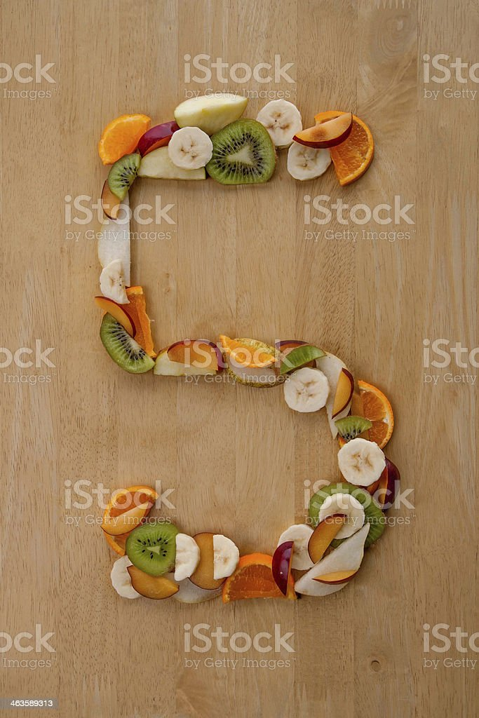 Five a Day! Number 5 in fruit for healthy diets. stock photo