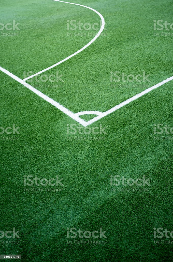 Five a side football pitch corner kick stock photo
