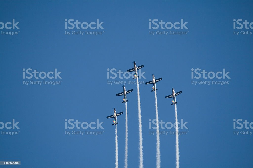 Five airplanes in formation stock photo