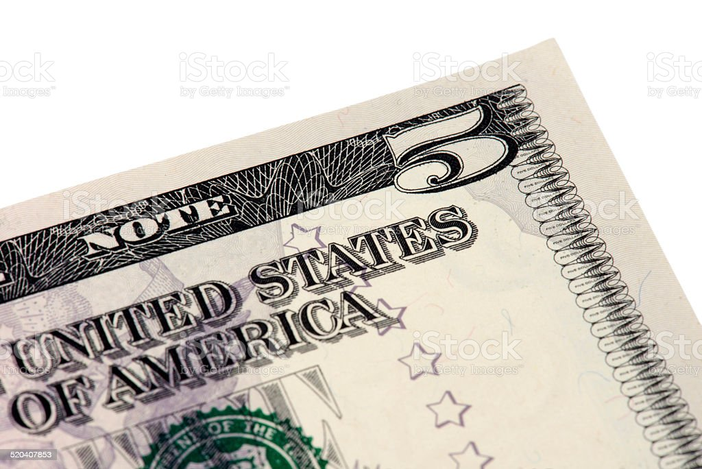 Five American Dollar Bill stock photo