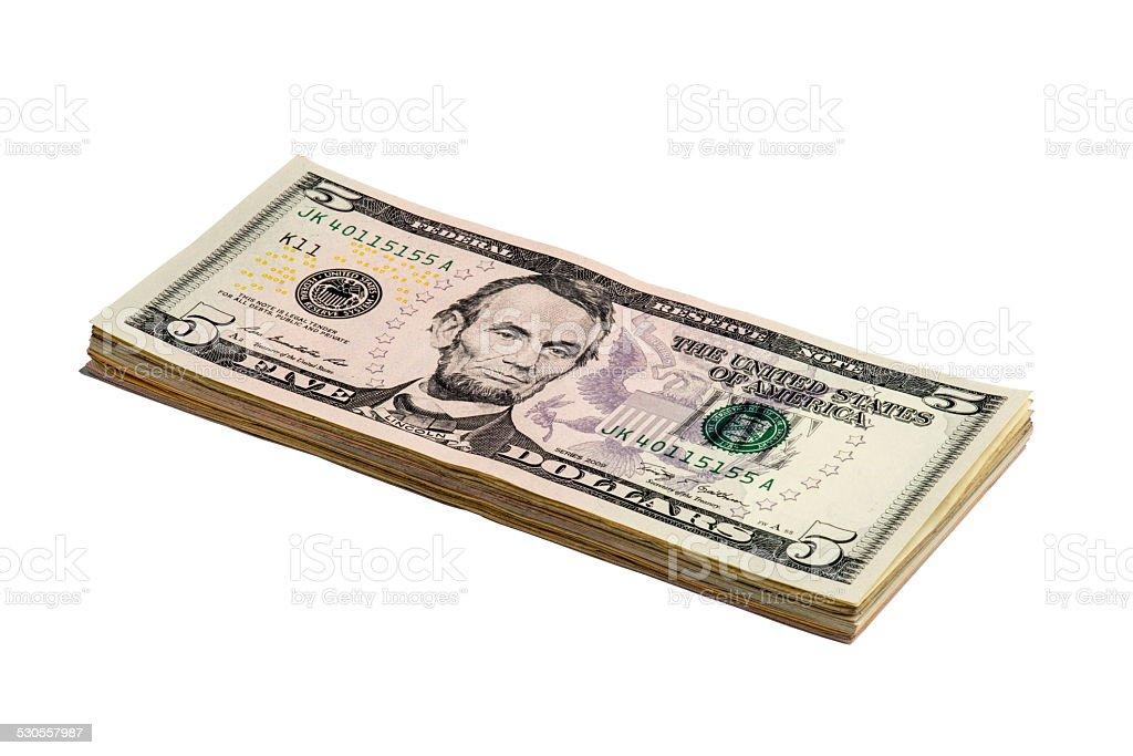 Five American Dollars Bill stock photo