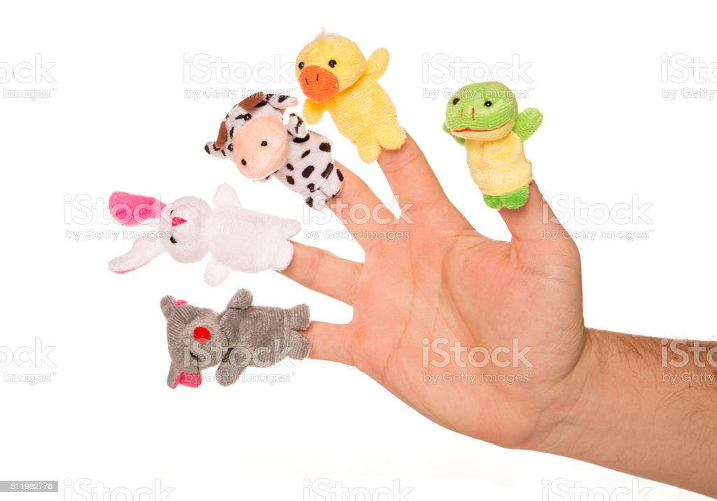 five animal finger puppets stock photo