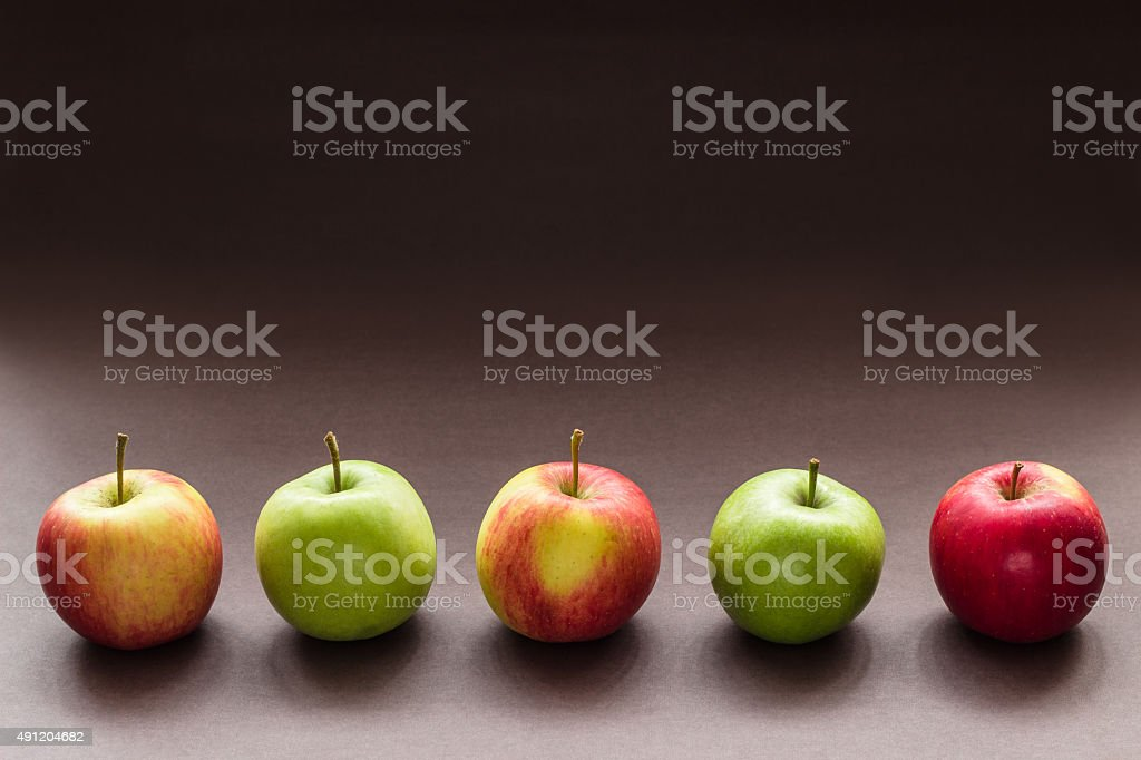 Five Apples in a row stock photo