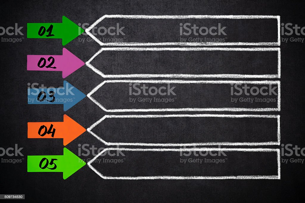 Five  arrows with place for your content stock photo