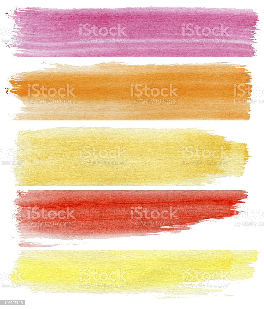 Five banners of watercolor streaks of different colors stock photo