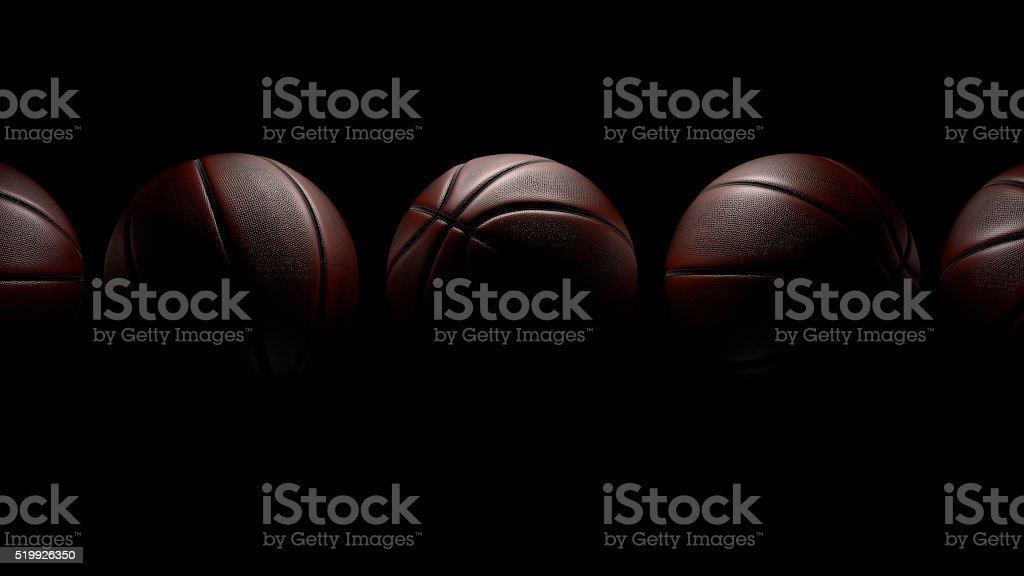 5 つのバスケットボール黒を背景にしたます。クリッピングパスます。 ロイヤリティフリーストックフォト