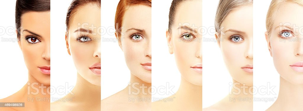 Five beautiful women of different ethnic groups stock photo