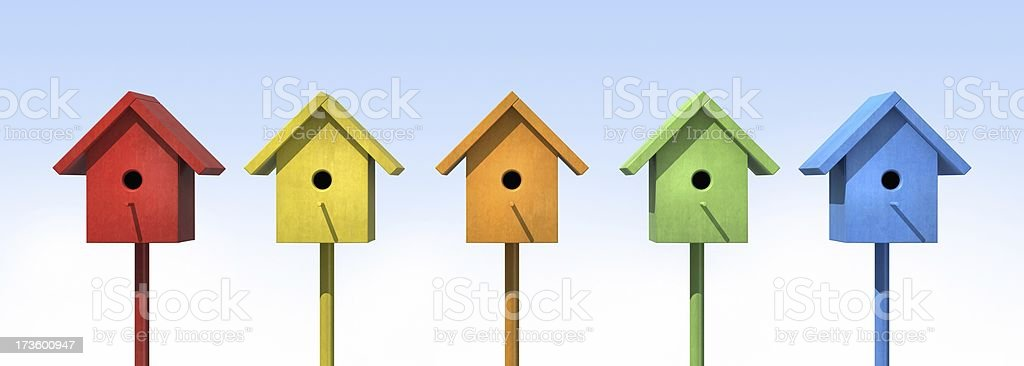 Five Birdhouses royalty-free stock photo